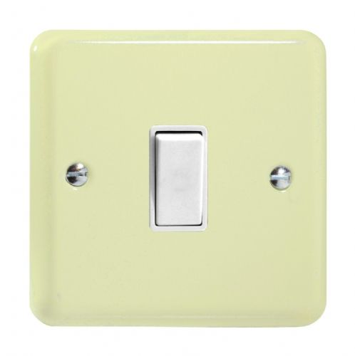 Varilight XY1W.WC Lily Pastel White Chocolate 1 Gang 10A 1 or 2 Way Rocker Light Switch